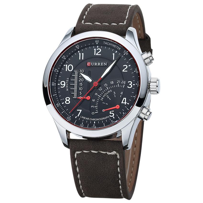 Đồng hồ nam dây da Curren 8152 (Trắng đen)