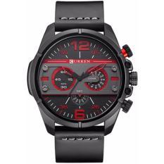 Đồng hồ nam dây da Curren 82KCN59 (Đen phối đỏ)