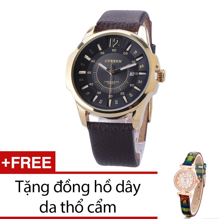 Đồng Hồ Nam Dây Da Curren (Đen) + Tặng Kèm 1 Đồng Hồ Dây Da Thổ Cẩm