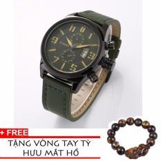 Đồng Hồ Nam Dây Da Curren Dhc820c (Xanh Rêu) + Tặng Vòng Tay Tỳ Hưu Mắt Hổ
