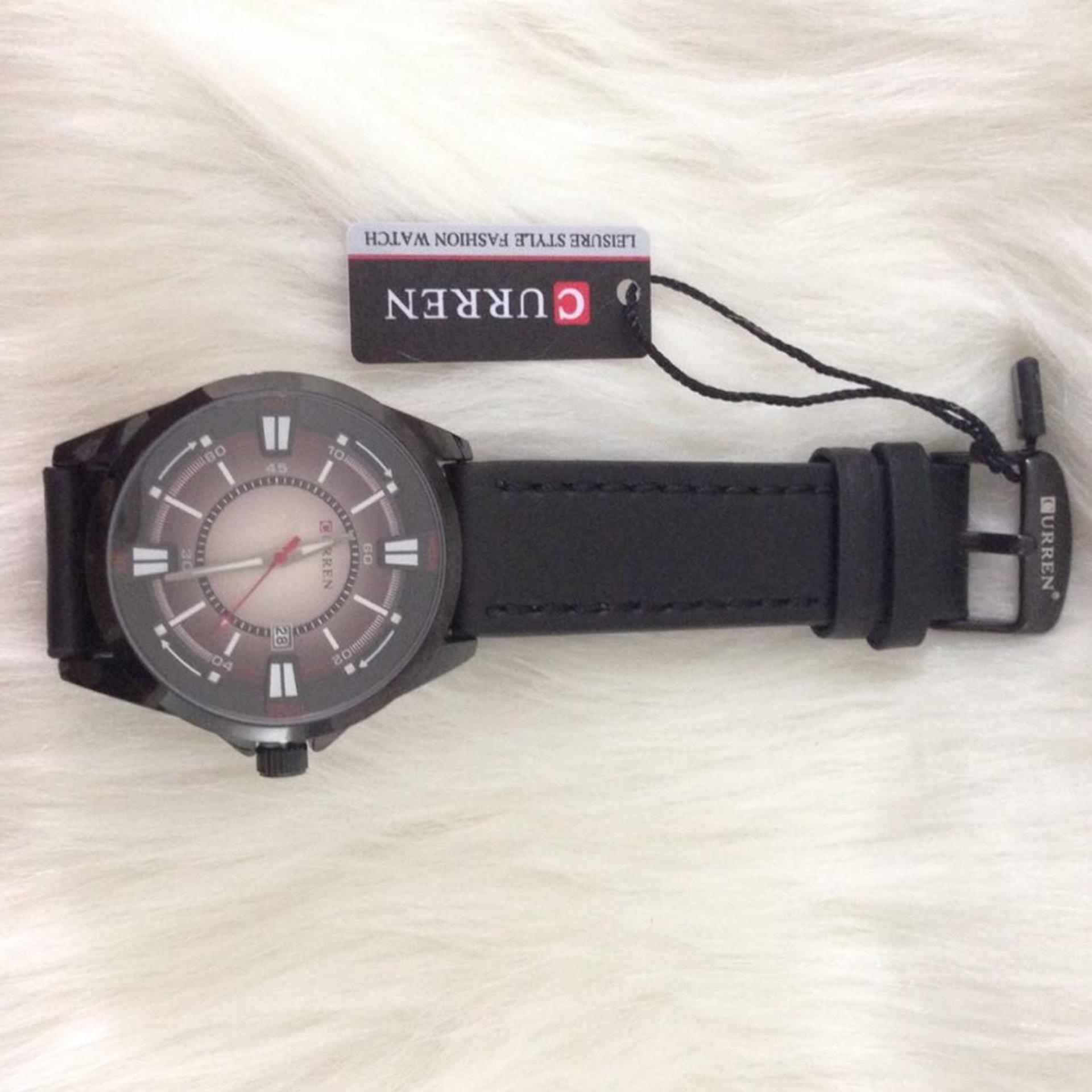 Đồng hồ nam dây da Curren (Mặt đen)