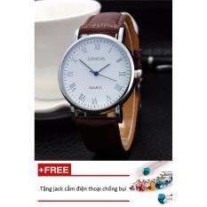 Đồng hồ nam dây da Geneva PKHRGE046-1 (nâu mặt trắng) + Tặng 1 jack chống bụi cho điện thoại