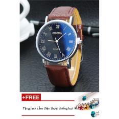 Đồng hồ nam dây da Geneva PKHRGE046-2 (nâu mặt đen) + Tặng 1 jack chống bụi cho điện thoại