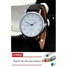 Đồng hồ nam dây da Geneva PKHRGE046-4 (đen mặt trắng) + Tặng 1 jack chống bụi cho điện thoại