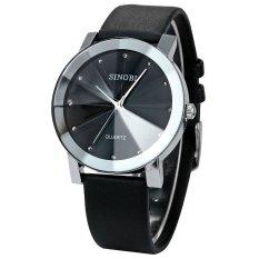 Đồng hồ nam dây da mặt kính 3D chống xước SINOBI SI3D (Đen)