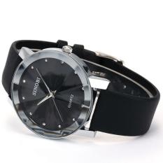 Đồng hồ nam dây da mặt kính 3D chống xước SINOBI SI5D (Đen)