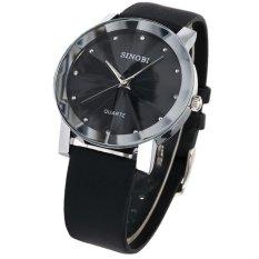 Đồng hồ nam dây da mặt kính 3D chống xước SINOBI SI7D (Đen)