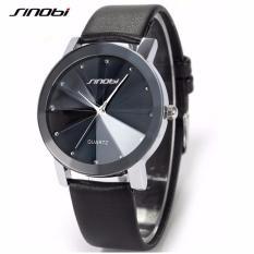 Đồng hồ nam dây da mặt kính 3D Sinobi Si3D (Đen)