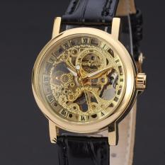 Đồng hồ nam dây da máy cơ Winner DWN1 (Dây đen mặt vàng)