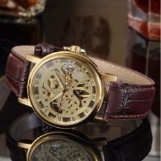 Đồng hồ nam dây da máy cơ Winner DWN1 (Dây nâu mặt vàng)