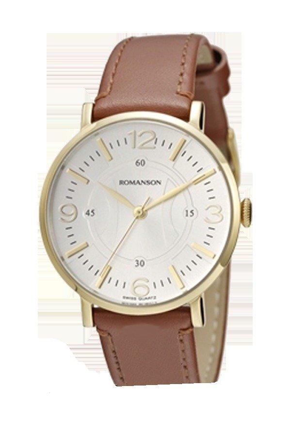 Đồng hồ nam dây da Romanson RL4217LGWH (Nâu)
