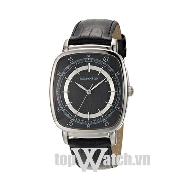 Đồng hồ nam dây da ROMANSON TL0352MWBK (Mặt Đen)