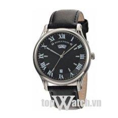 Đồng hồ nam dây da ROMANSON TL0393MWWH (Mặt Đen)