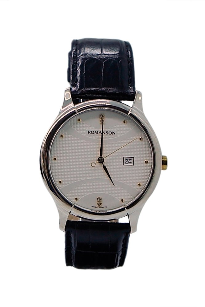 Cách mua Đồng hồ nam dây da Romanson TL1213MCWH (Đen)