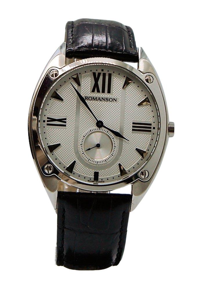 Đồng hồ nam dây da Romanson TL1272JMWWH (Đen)