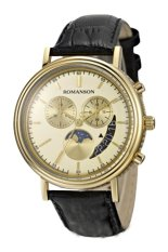 Đồng hồ nam dây da Romanson TL1276HMGGD (Đen)