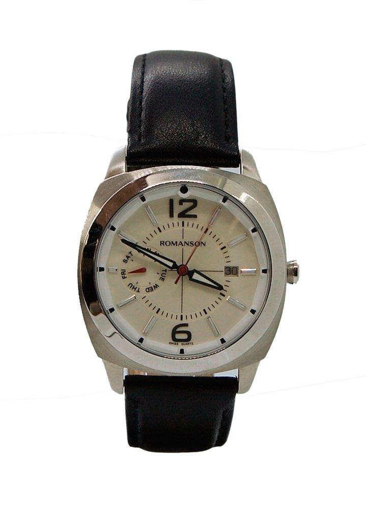 Đồng hồ nam dây da Romanson TL3220FMWWH (Đen)