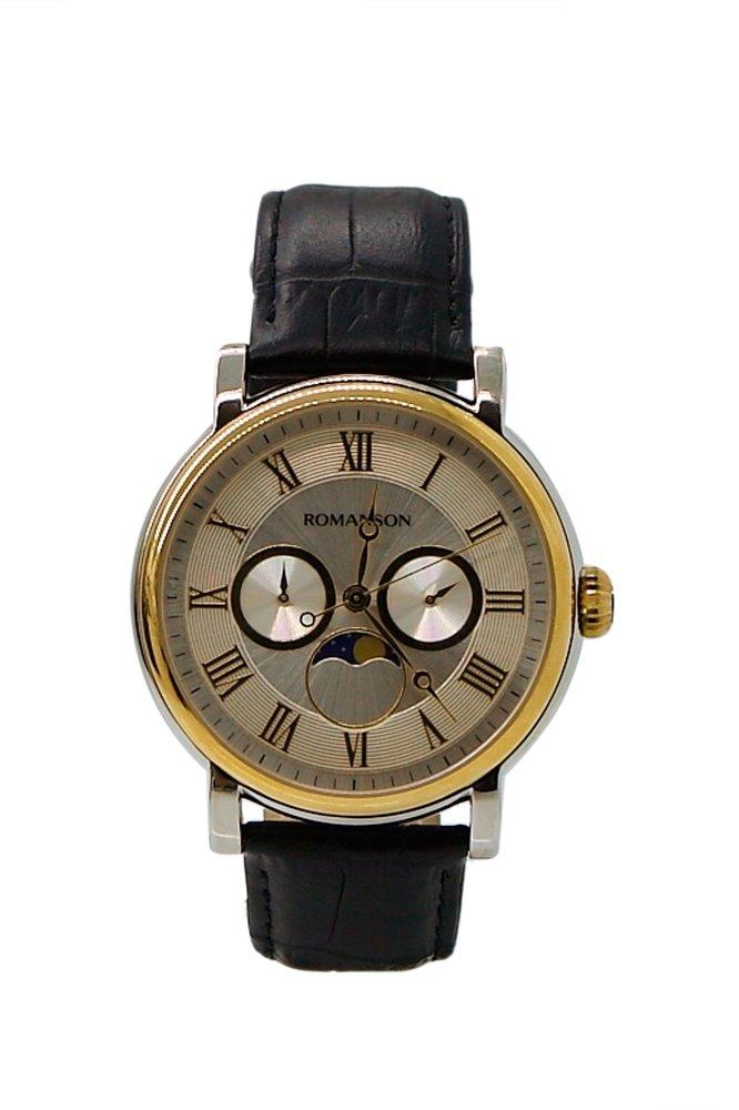 Đồng hồ Nam dây da Romanson TL4240FMCWH (Đen)