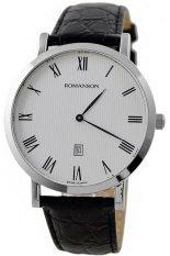 Đồng hồ nam dây da Romanson TL5507XWWH (Đen)