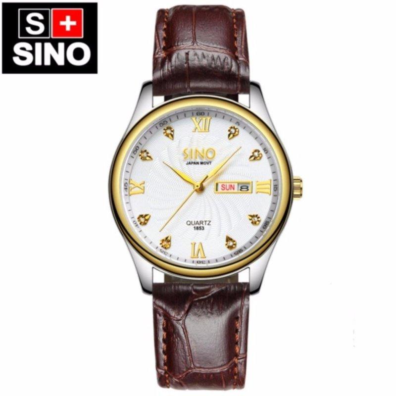 Nơi bán Đồng hồ nam Dây Da Sino Japan Movt  MDH-S1853 (Trắng, đen, vàng)