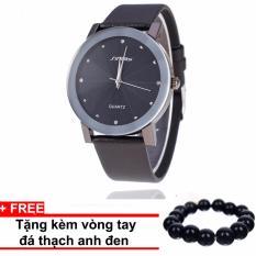 Đồng hồ nam dây da Sinobi SINO1231 (Đen) +Tặng kèm vòng tay thạch anh đen
