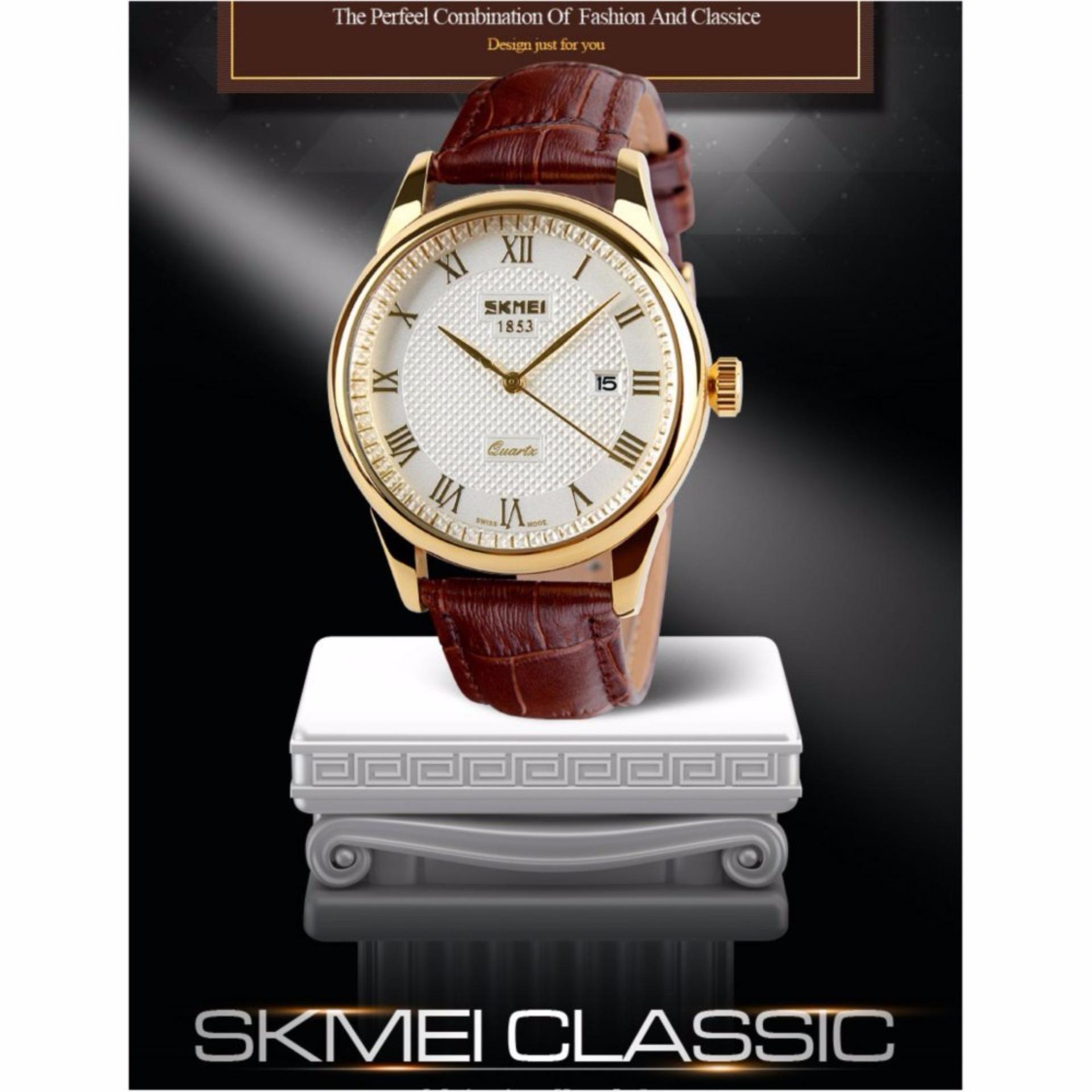 Giá bán Đồng hồ nam dây da SKMEI 0511.0815NA (Nâu)