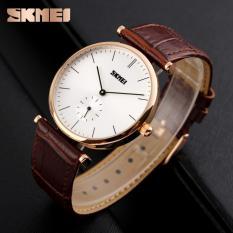 Đồng hồ nam dây da SKMEI 1175 2,5 kim sang trọng (Nâu phối vàng)