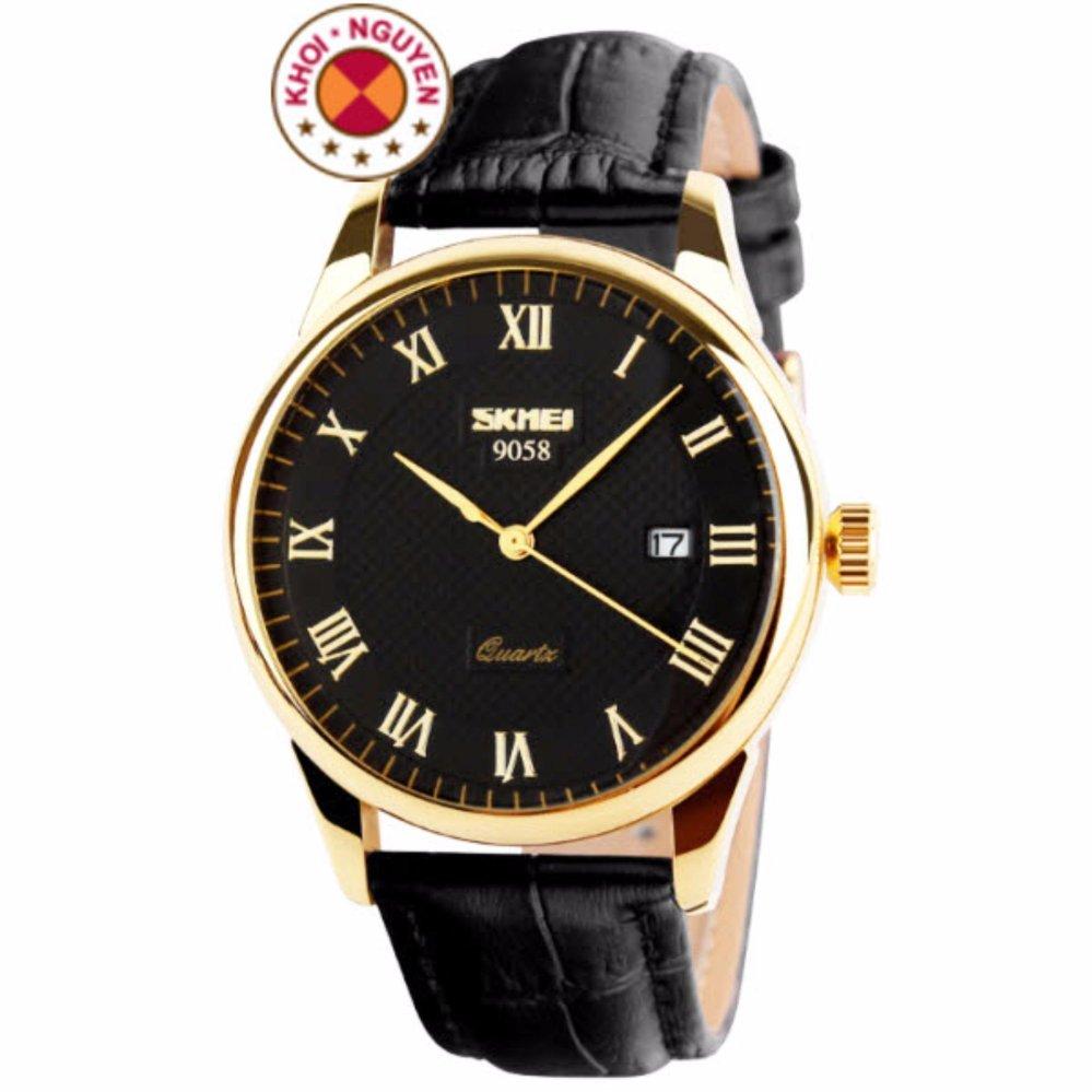 Đồng hồ nam dây da Skmei 9058 (Mặt Đen)