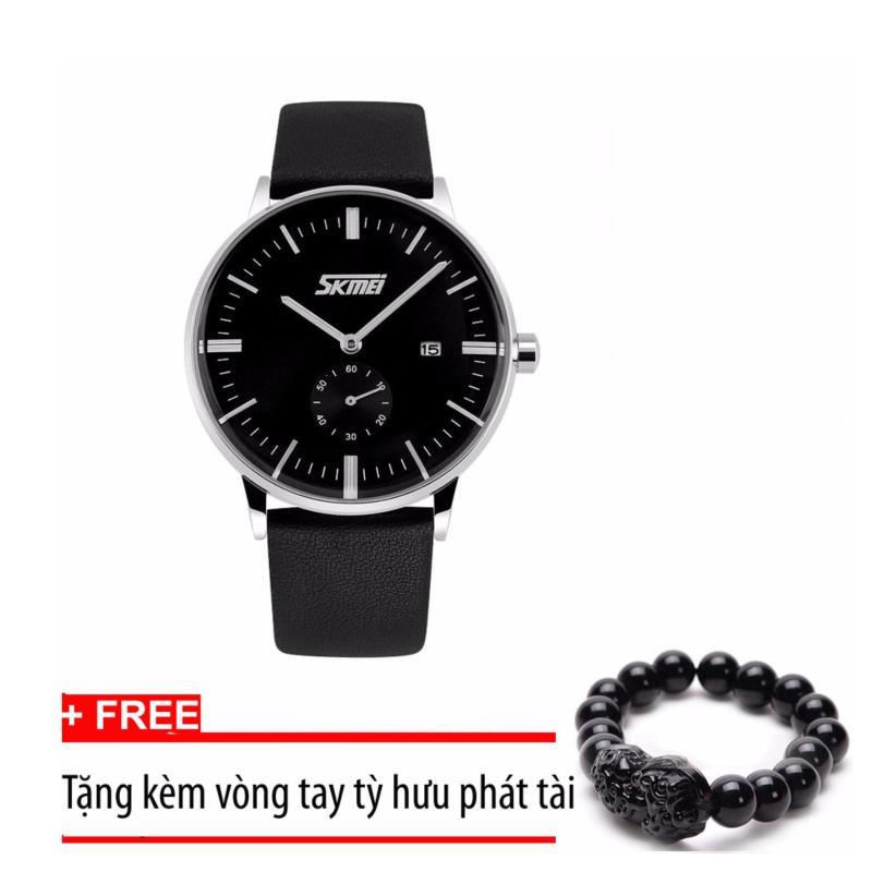 Nơi bán Đồng hồ nam dây da Skmei 9083 (Đen) +Tặng kèm vòng tay tỳ hưu