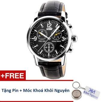 Đồng hồ nam dây da Skmei 90KCN70 (Đen) + Tặng pin và móc khoá Khôi Nguyên