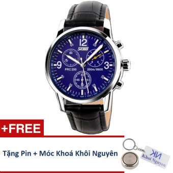 Đồng hồ nam dây da Skmei 90KCN70 (Mặt Xanh) + Tặng pin và móc khoá Khôi Nguyên