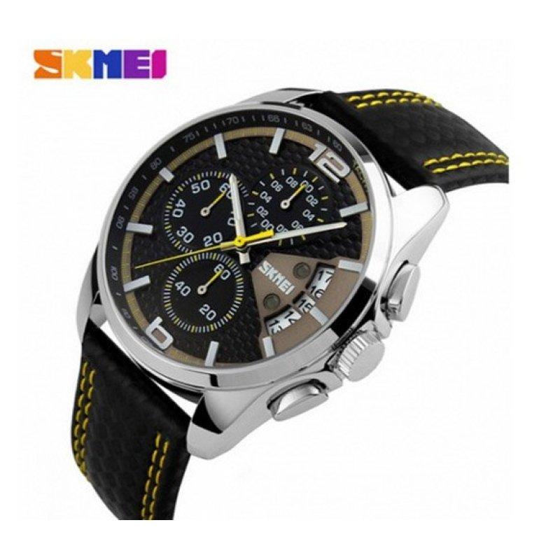Nơi bán Đồng hồ nam dây da Skmei 9106 (Vàng)