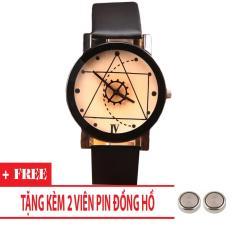 Đồng hồ nam dây da Thạch Anh Tam Giác TimeZone (Dây Đen, Mặt Xám) + Tặng Kèm Pin