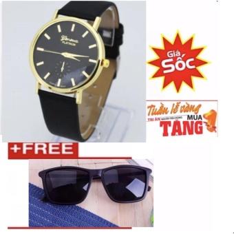 Đồng hồ nam dây da thời trang mới (Đen) + Free Kính Unisex Tây HT01(Đen)
