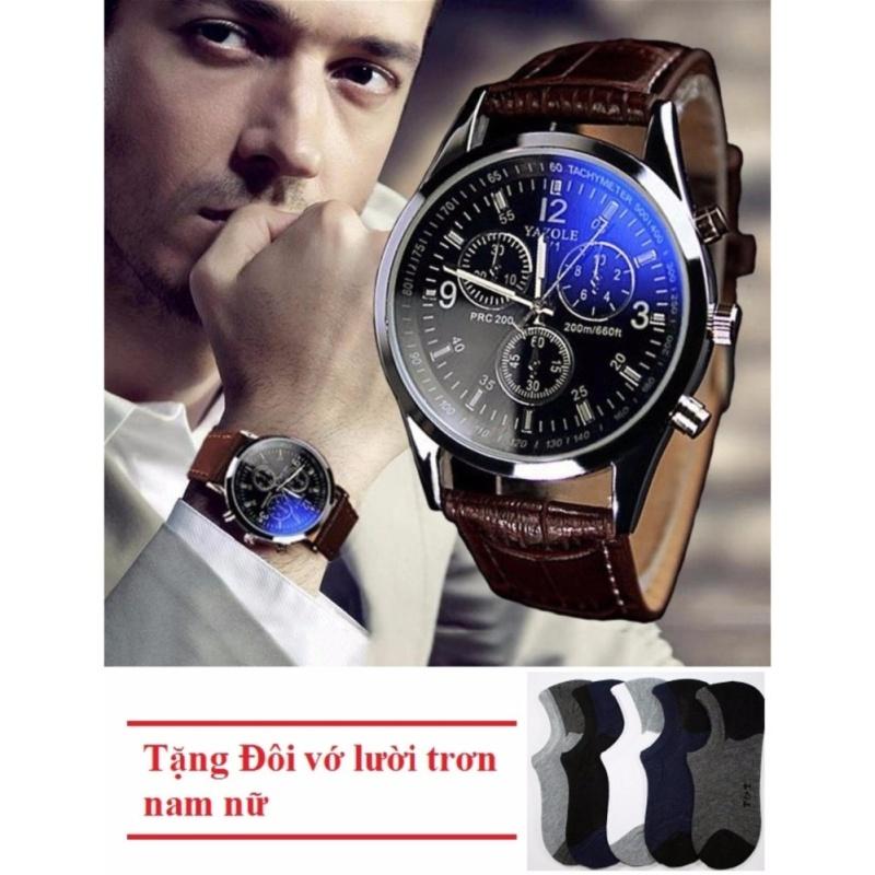 Nơi bán Đồng hồ nam dây da thời trang YZL - MBAC + Tặng Đôi vớ lười trơn