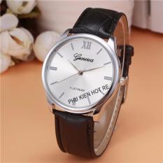Đồng hồ nam dây da tổng hợp Geneva PKHRGE028-2 (Đen mặt trắng)