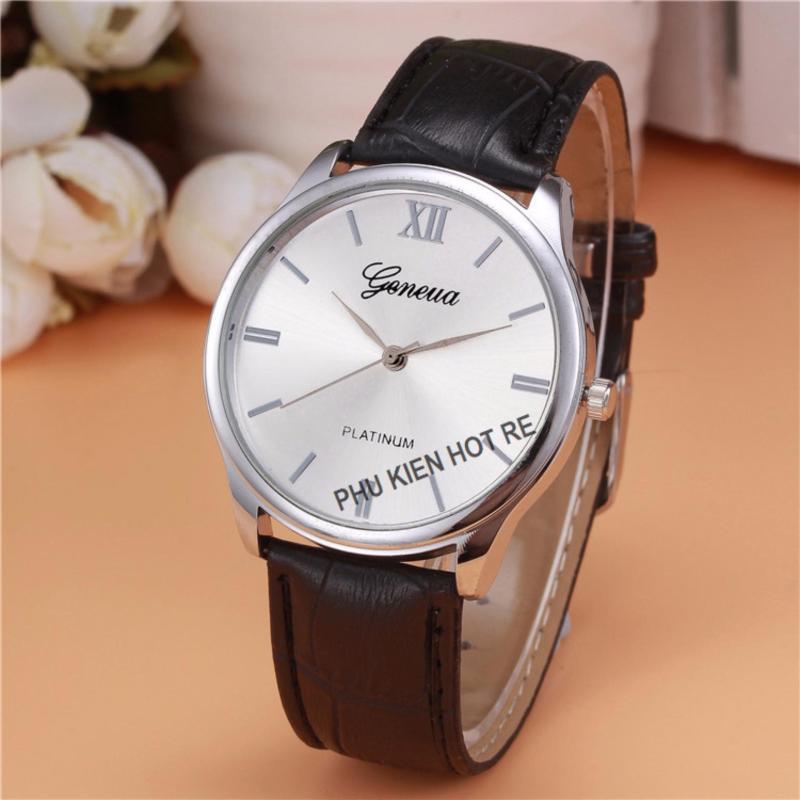 Nơi bán Đồng hồ nam dây da tổng hợp Geneva PKHRGE028-2 (Đen mặt trắng)