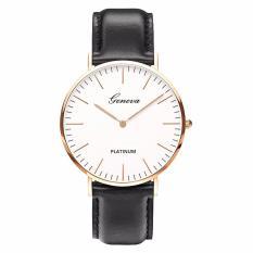 Đồng hồ nam dây da tổng hợp Geneva PKHRGE037-1 (đen mặt trắng viền vàng)