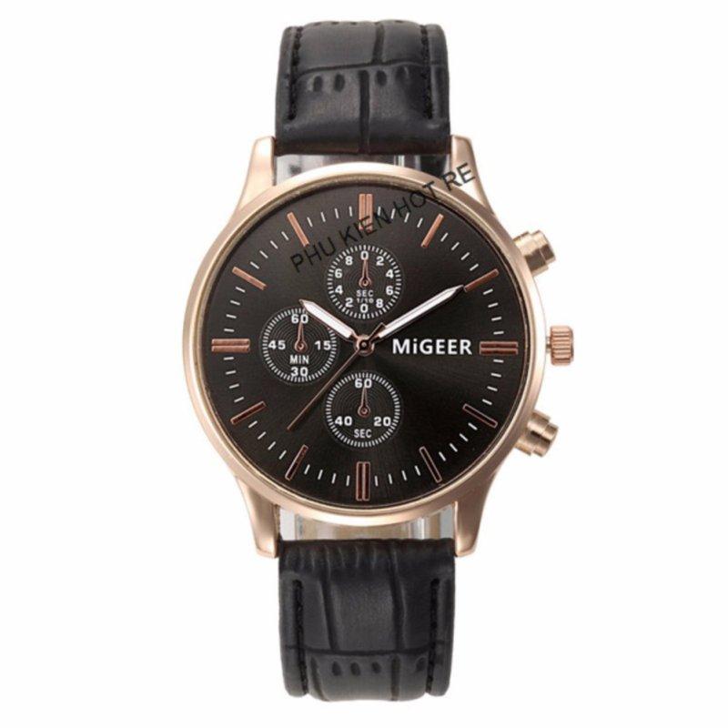 Nơi bán Đồng hồ nam dây da tổng hợp MiGeer PKHRMG001-1 (Đen mặt Đen)