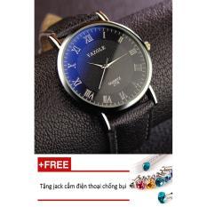 Đồng hồ nam dây da tổng hợp Yazole namYA004-2 (đen mặt đen) + Tặng 1 jack chống bụi cho điện thoại