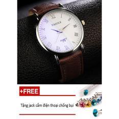 Đồng hồ nam dây da tổng hợp Yazole namYA004-3 (nâu mặt trắng) + Tặng 1 jack chống bụi cho điện thoại