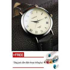 Đồng hồ nam dây da tổng hợp Yazole namYA004-4 (đen mặt trắng) + Tặng 1 jack chống bụi cho điện thoại