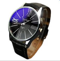 Đồng hồ nam dây da tổng hợp Yazole YA002-1 (Đen – Mặt xanh) Nk436