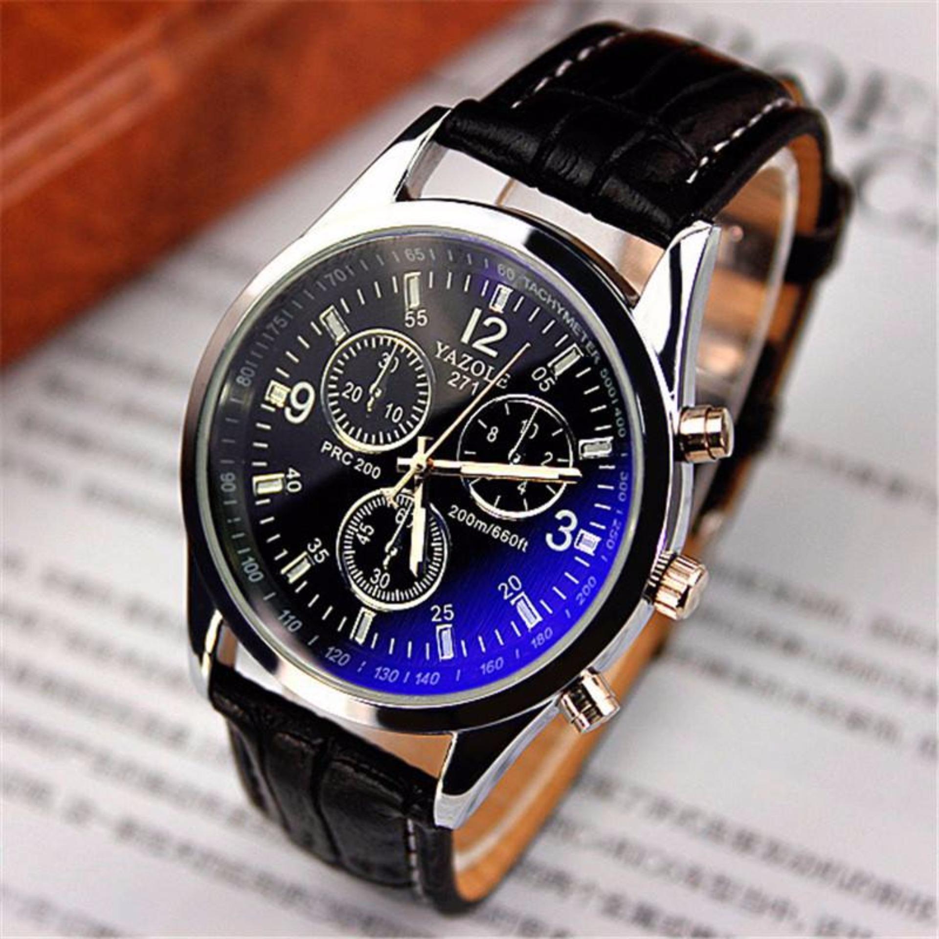 Đồng hồ nam dây da Yazole 271 giá tốt (dây đen mặt đen)