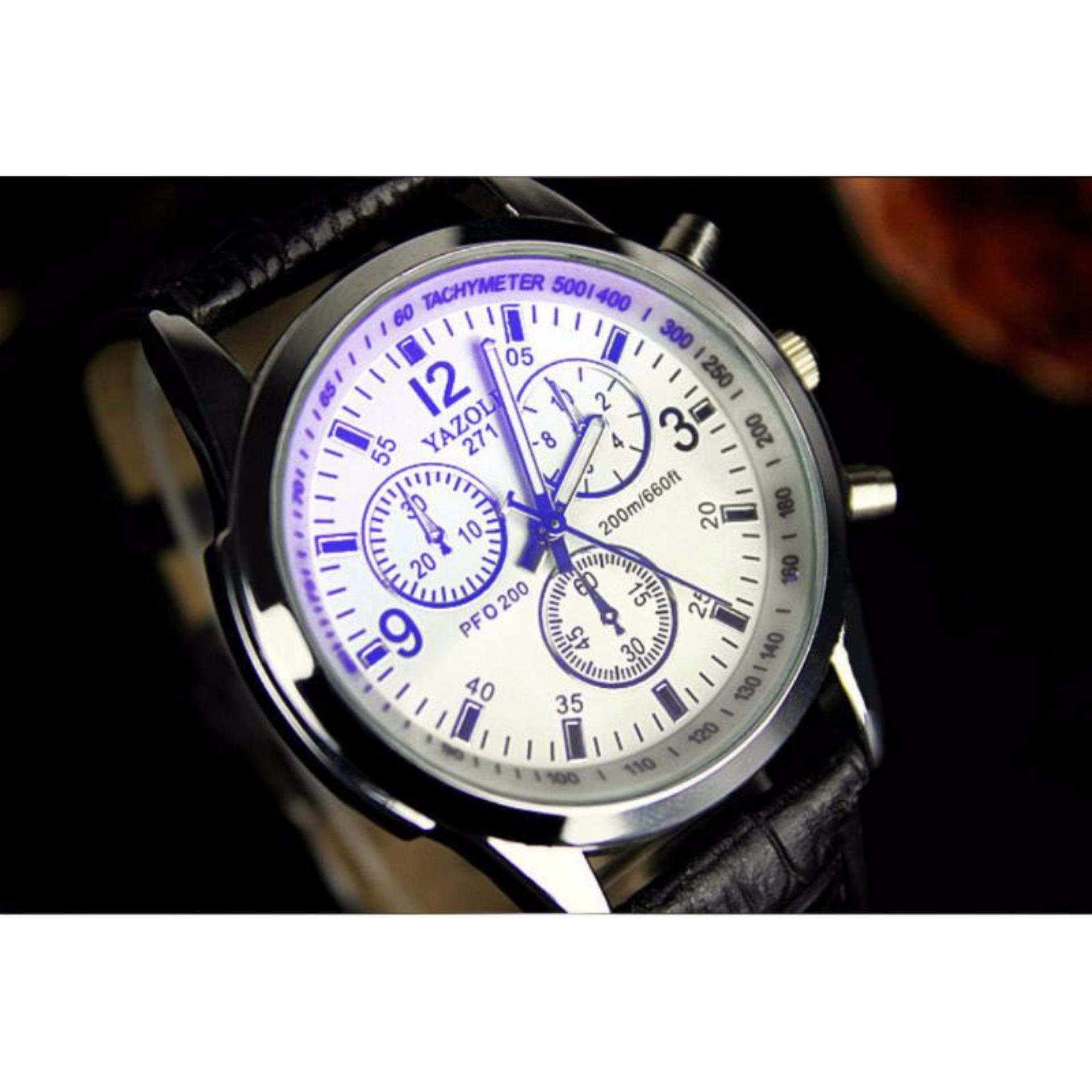 Đồng hồ nam dây da Yazole 271 thời trang (đen trắng)