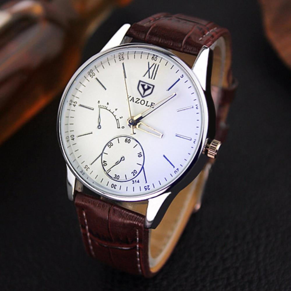 Đồng hồ nam dây da YAZOLE 314 thời trang