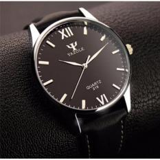 Đồng hồ Nam dây da Yazole 318 – Đen mặt đen