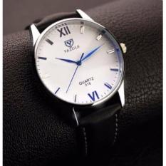 Đồng hồ Nam dây da Yazole 318 – Đen mặt trắng