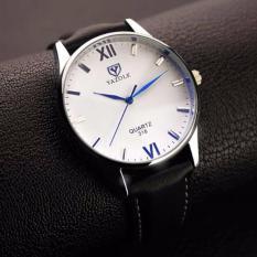 Đồng hồ nam dây da Yazole 318 – Mặt trắng, dây đen