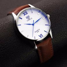 Đồng hồ nam Yazole 318 dây da sang trọng (Mặt trắng dây nâu)